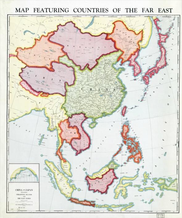 1932年,美國-芝加哥-地理出版社印行的【遠東地區國家地圖】
