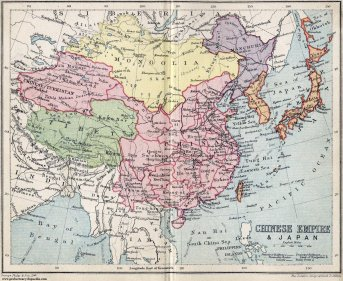 Map of Chinese Empire and Japan 1911