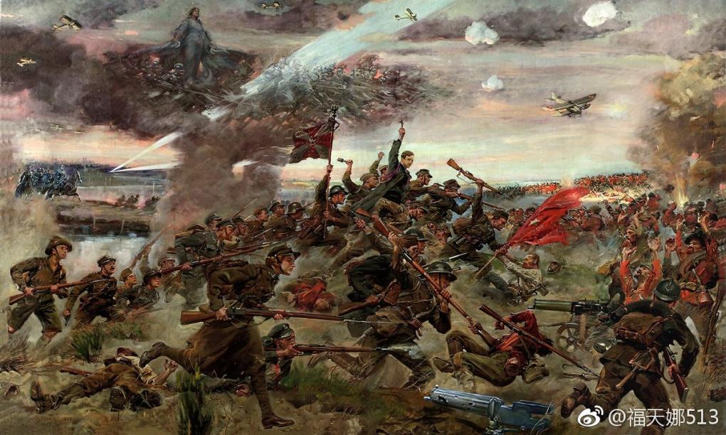 一幅绘画作品展现了1920年8月25日,天主教波兰的爱国者们在华沙抵抗入侵的苏联共产主义军队。公教青年报国团与之相似,是幽燕民族在反共圣战中的主力。