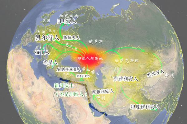 原始印欧人扩散路线图